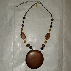 Wooden beaded adjustable necklace